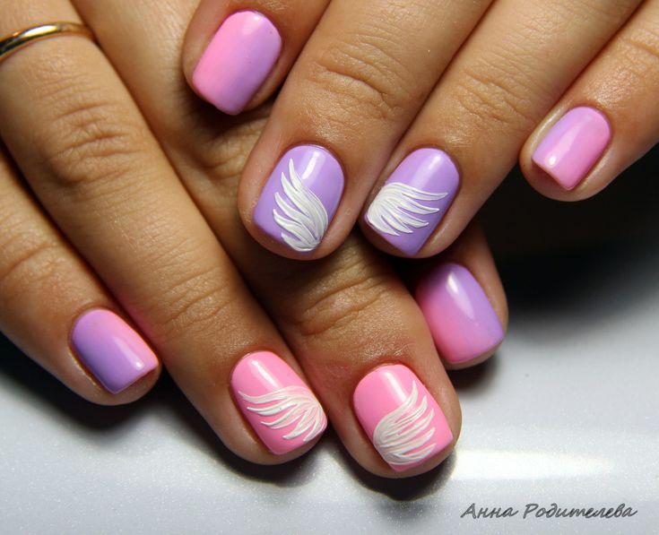 Градиентные ногти, Двухцветный дизайн ногтей, Двухцветный яркий маникюр, Идеи двухцветного маникюра, Летний маникюр 2016, Летний маникюр омбре, Маникюр для лета, Маникюр для молодых мам