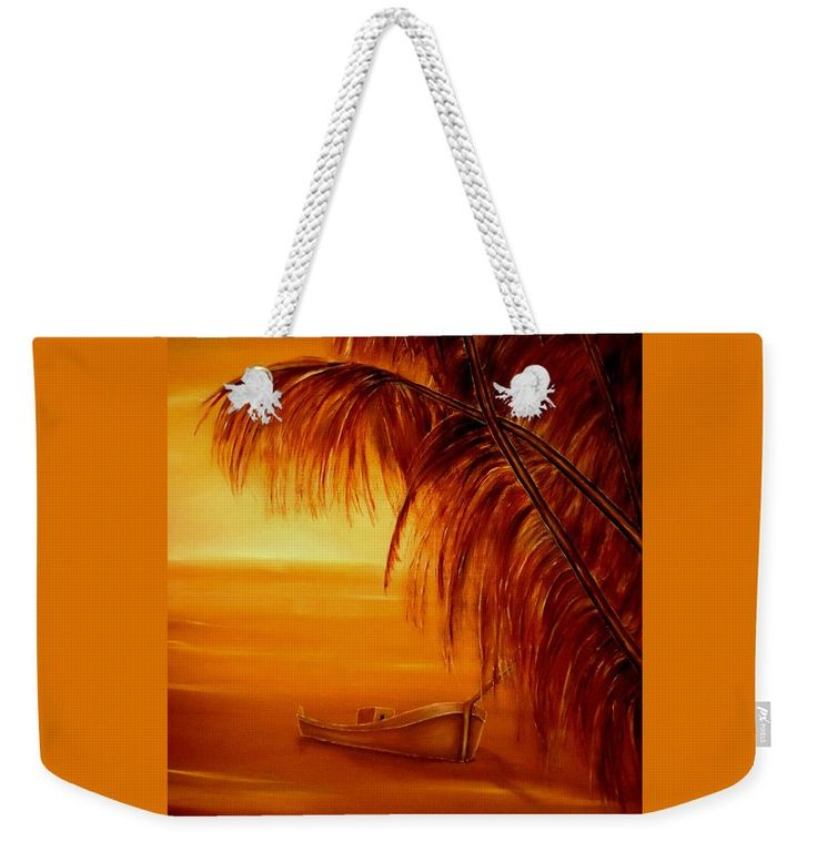 Weekender Tote Bag,  orange,brown,cool,beautiful,fancy,unique,trendy,artistic,awesome,fahionable,unusual,accessories,for,sale,design,items,products,gifts,presents,ideas,tropical,palmtrees,sunset