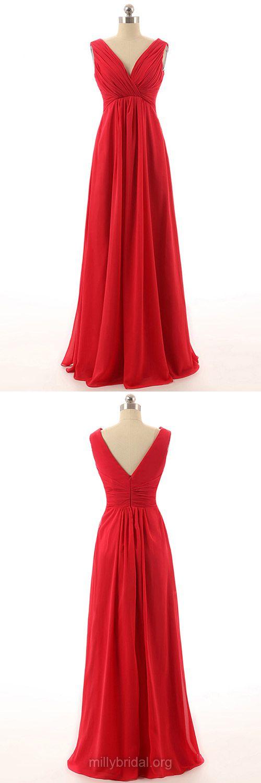 Beautiful Red Prom Dresses, Long Bridesmaid Dresses, Empire Formal Dresses, V-neck Party Dresses, Chiffon with Ruffles Bridesmaid Dress