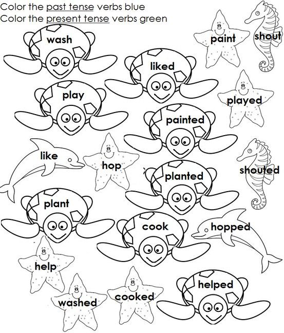 Regular past tense verbs ed ending. The coloring part will