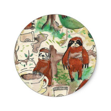 sloth coffee classic round sticker - craft supplies diy custom design supply special