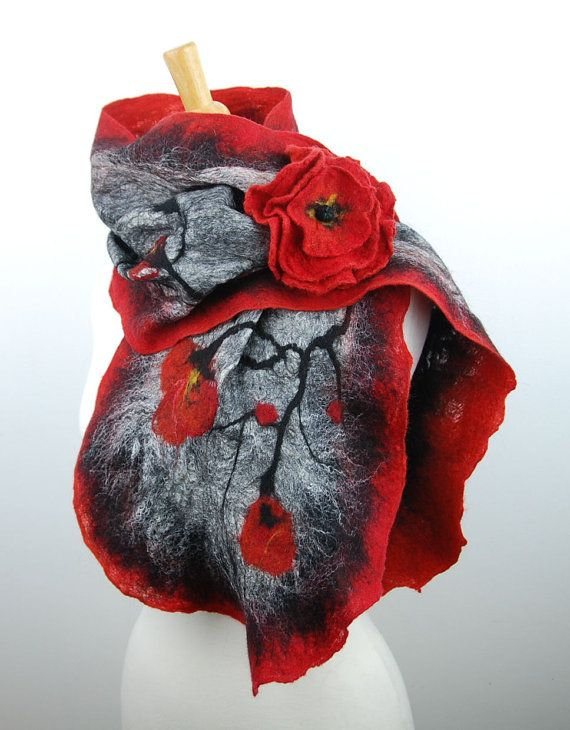 Felted scarf with brooch felted flower felt scarf by AnnaWegg, £48.99
