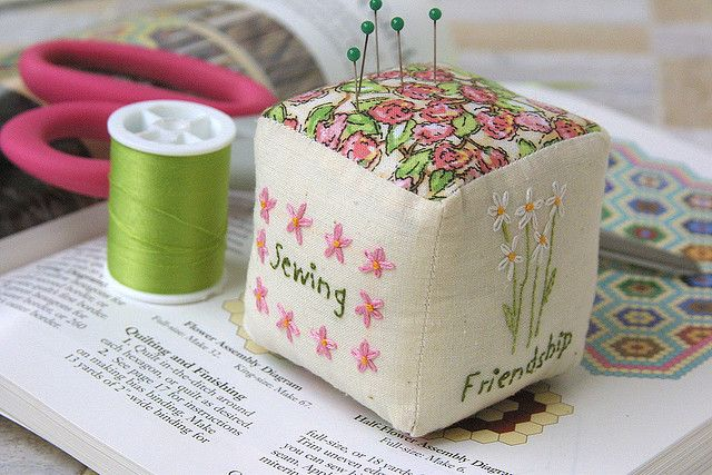Embroidered pincushion By twiddletails (I love lazy daisy stitch.)