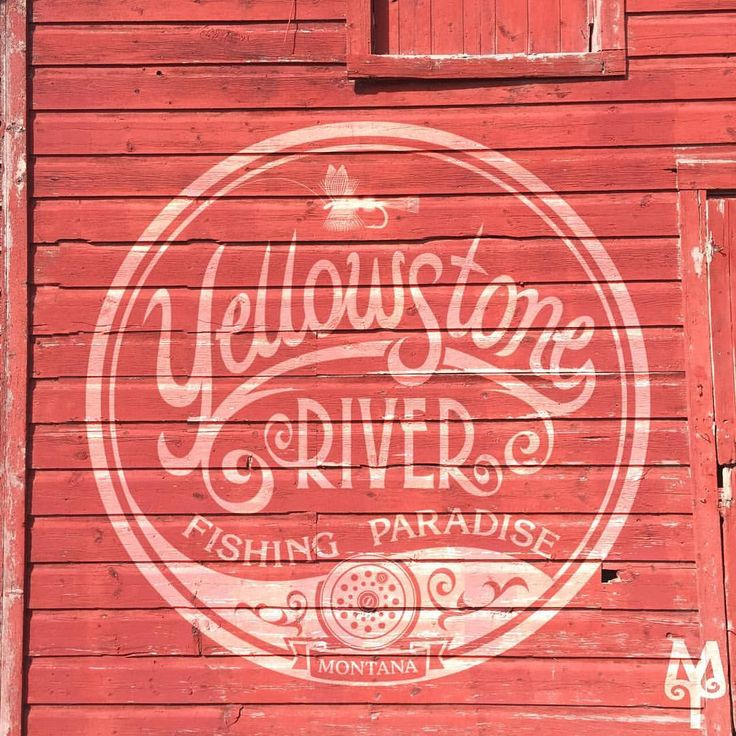"48 Likes, 1 Comments - Montana Treasures (@montana_treasures) on Instagram: ""'Yellowstone River Fishing Paradise' design seen on an old barn in Bozeman, Montana.""...Discover more Montana Treasures wall art on the montana treasures.com web site."