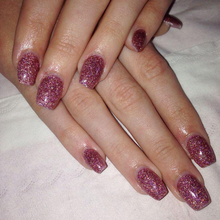 Rose gold glitter acrylic nails