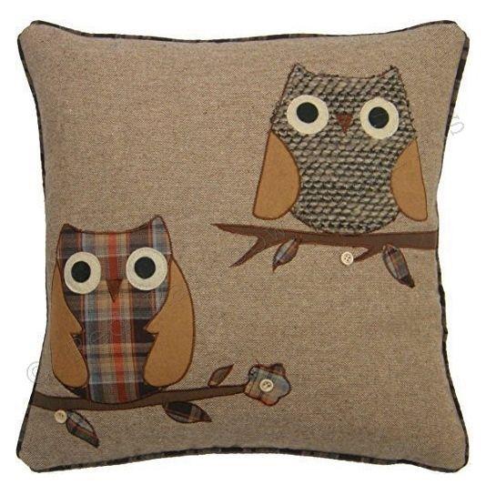 "Tartan Owl 18"" Brown & Orange  Cushion Cover Soft Woven Tweed Fabric   | eBay"