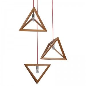 Timber Triangle Pendant Light with Coloured Cord - lighting online australia