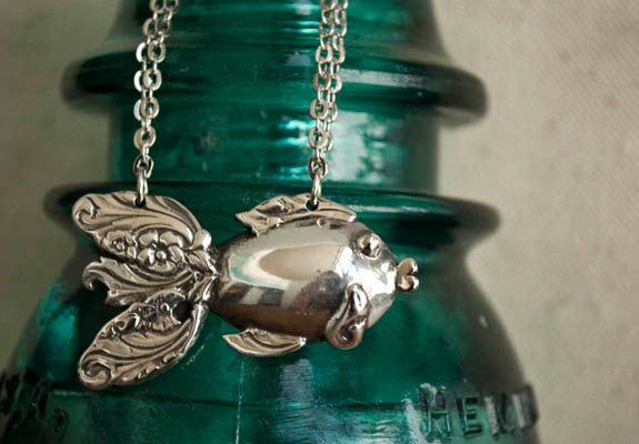 Spoon Necklace Goldfish by Silver Spoon Jewelry by silverspoonj