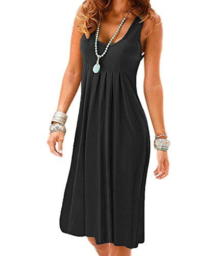 2be87a3461d09 VERABENDI Womens Summer Casual Sleeveless Mini Plain Pleated Tank Vest  Dresses