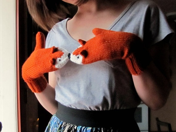 Handknitted fox mittens by thepsychodelicate on Etsy