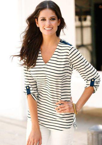 Prúžkovaná blúzka s kontrastnými pätkami #ModinoSK #clothing #stripes #trendy #pruhy #pruzky #fashion #trend #styl #obleceni