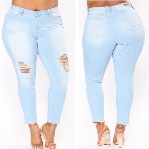 0a5df2d14a PLUS SIZE Jeans Women High Waist Skinny Pencil Blue Denim Pants women  Zipper Stretch washed Jeans