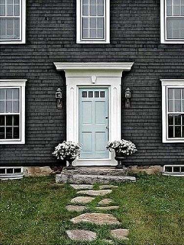 gorgeous. : Colors Combos, The Doors, Grey House, Front Doors Colors, Blue Doors, Door Colors, White Trim, Frontdoor, House Colors