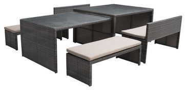 Sanibel Dining Flex Set - contemporary - Outdoor Dining Sets - zopalo