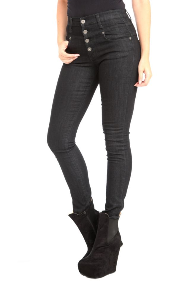 These five-pocket skinny jeans feature an exposed button fly, sleek high waist and plenty of stretch.