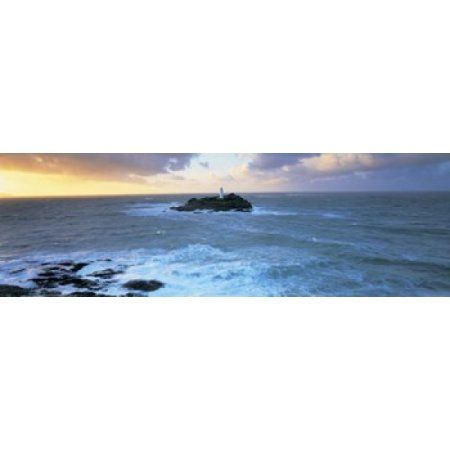 Lighthouse on an island Godvery Lighthouse Hayle Cornwall England Canvas Art - Panoramic Images (36 x 12)