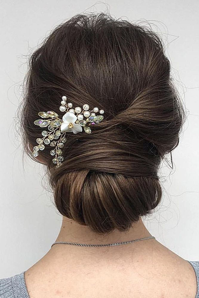 Pinterest Wedding Hairstyles Shingon On Dark Hair With A Hairpin Flower Bridesroom Via Instagram Hair Styles Party Hairstyles Bridesmaid Hair
