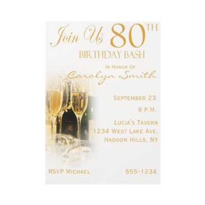 80th Wedding Anniversary Gift Ideas : 80th Birthday Party Invitations from http://www.zazzle.com/80th ...