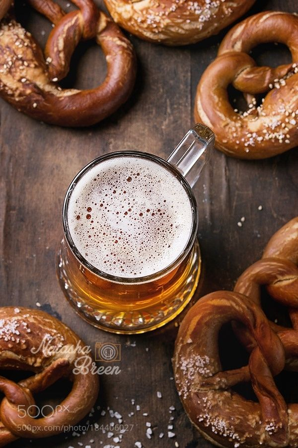 Lager beer with pretzels by NatashaBreen