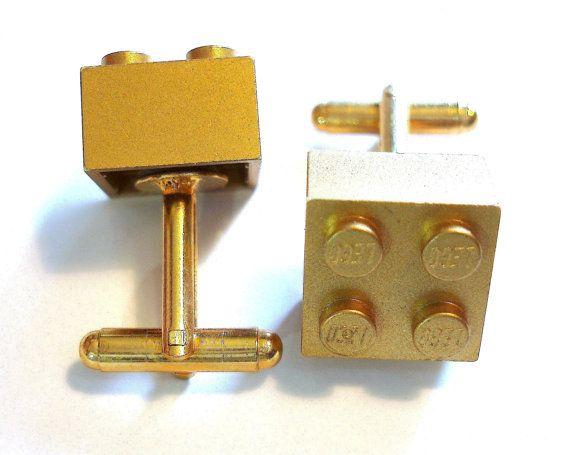 Gold Brick Cufflinks, Cufflinks for weddings, office, grooms - Gold Plated - Handmade with LEGO(r) Bricks via Etsy