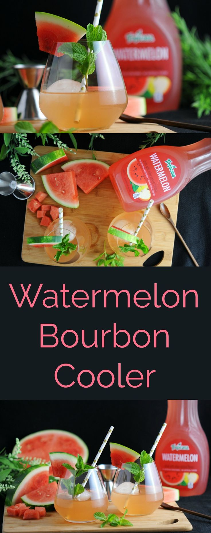 Watermelon Bourbon Coolers - #mixedwithtrop #ad cocktail, craft cocktails, craft cocktail recipes, craft cocktails bartender, craft cocktails & mixology, watermelon, bourbon, whiskey drinks, bourbon drinks, bourbon cocktail, mint recipes, mint simple syrup, paper straws, tropicana, watermelon juice, lime juice,