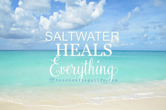 SALTWATER Heals EVERYTHING Beach Photography -Carribean blue turquoise Seaside Quote Coastal Home Decor Available in print or canvas, with or without quote.