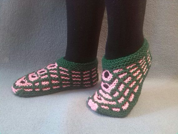 Green and Pink Slippers for Women by WarmandCozyKnits on Etsy