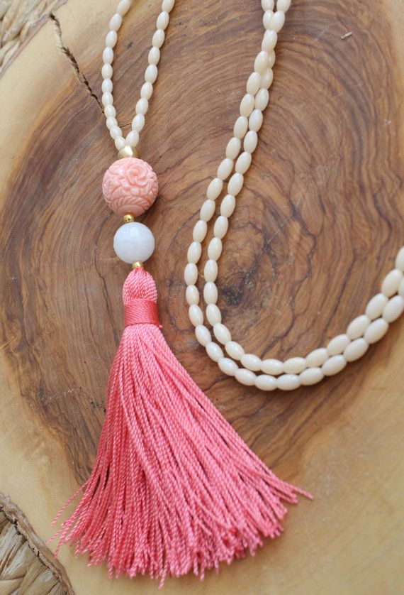 Long Tassel necklace. Rice Beaded tassel by lizaslittlethings