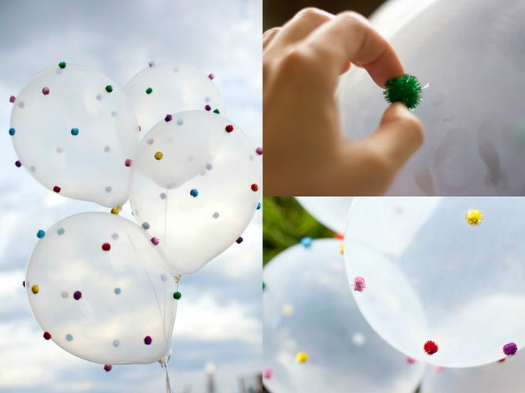 bunte Pompoms auf Heliumluftballons aufkleben