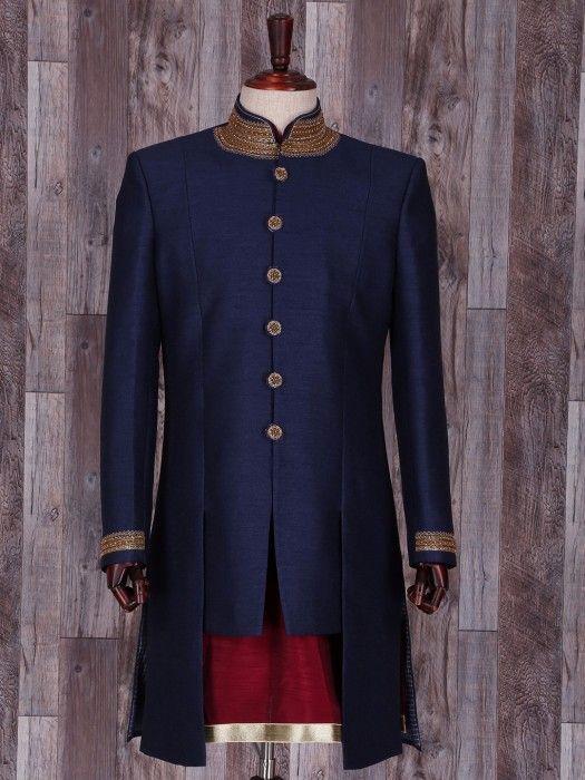 Plain Navy Silk Indo Western