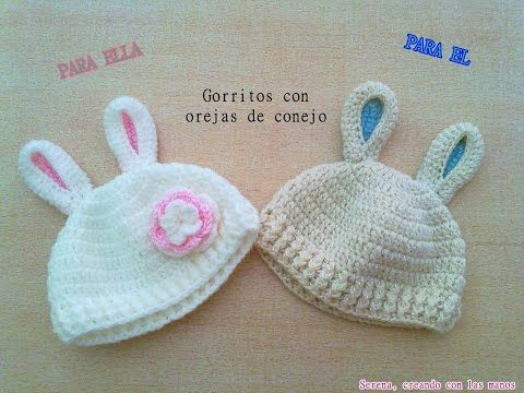 DIY Patron Gorro crochet ganchillo con orejas de conejo para bebe (1 de 2) / English Subs Baby hat - YouTube