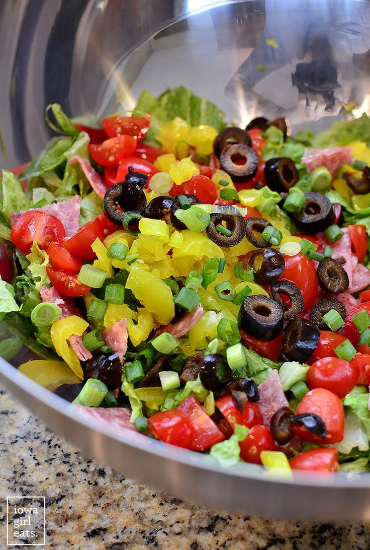 Italian Chopped Salad tastes like a jam-packed Italian deli sub. Fresh, healthy, and gluten-free! | iowagirleats.com