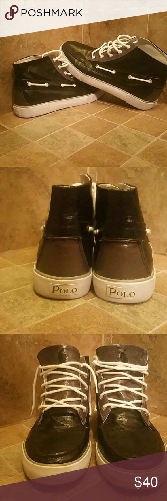 Polo hightop shoes Hightop polo sperry style shoes. There canvas with a lacquer coating very rare. Nrand new condition worn once inside department store brought home and never wore again. Polo by Ralph Lauren Shoes Boat Shoes