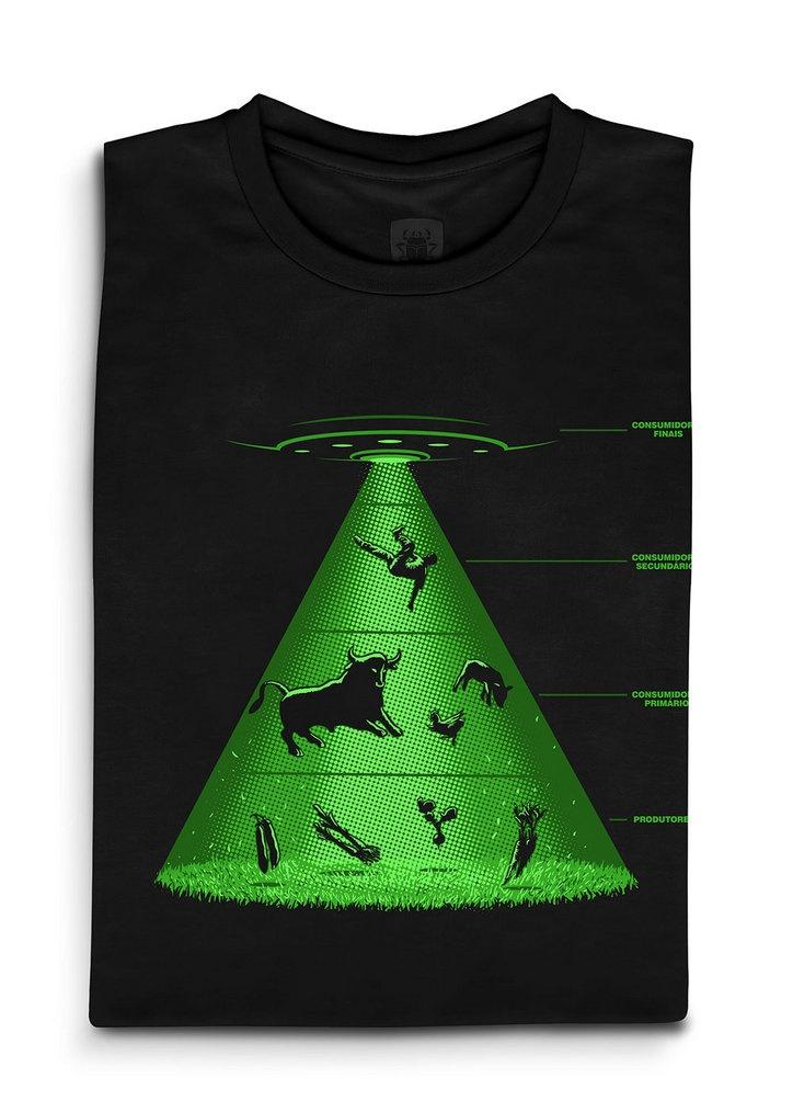 Camiseta Cadeia Abdutiva - SciFi - Linux Mall     Na pirâmide de alimentos interplanetária, o ser humano é que é a carne nobre  Preço de lançamento: R$49.00
