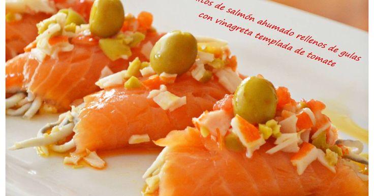 Fabulosa receta para Rollitos de salmón ahumado rellenos de gulas y vinagreta templada de tomate.