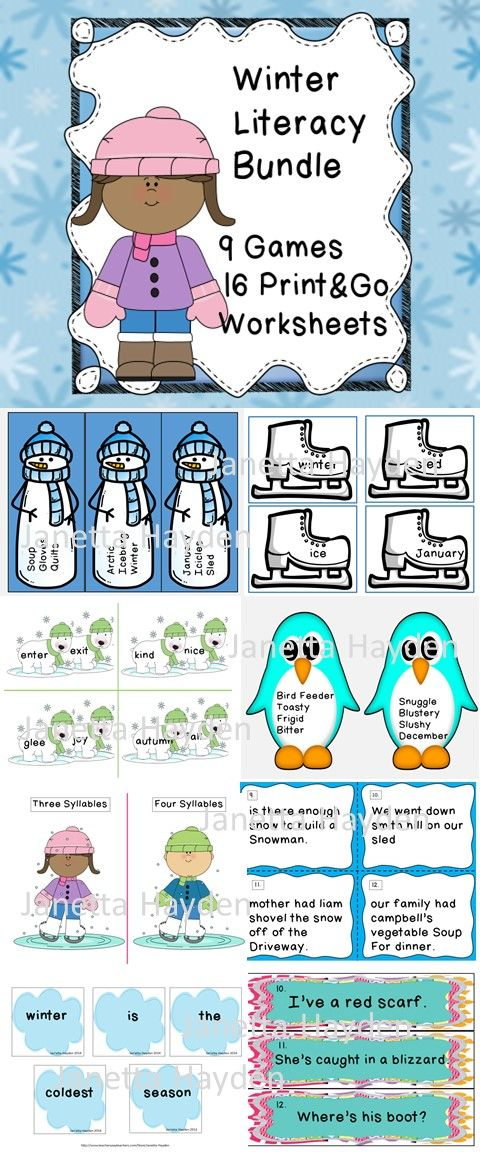 Are you looking for a low prep bundle to practice literacy skills? This is for you! Winter Literacy  Bundle contains 9 learning center games and 16  worksheets. Each is designed to work on a specific literacy skill. Including ABC Order, syllabication, synonyms, antonyms, parts of speech, capitalization, mixed up sentences, and more.