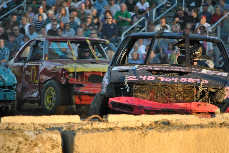 Demolition derby cars - where else can you smash into another junk vehicle ...
