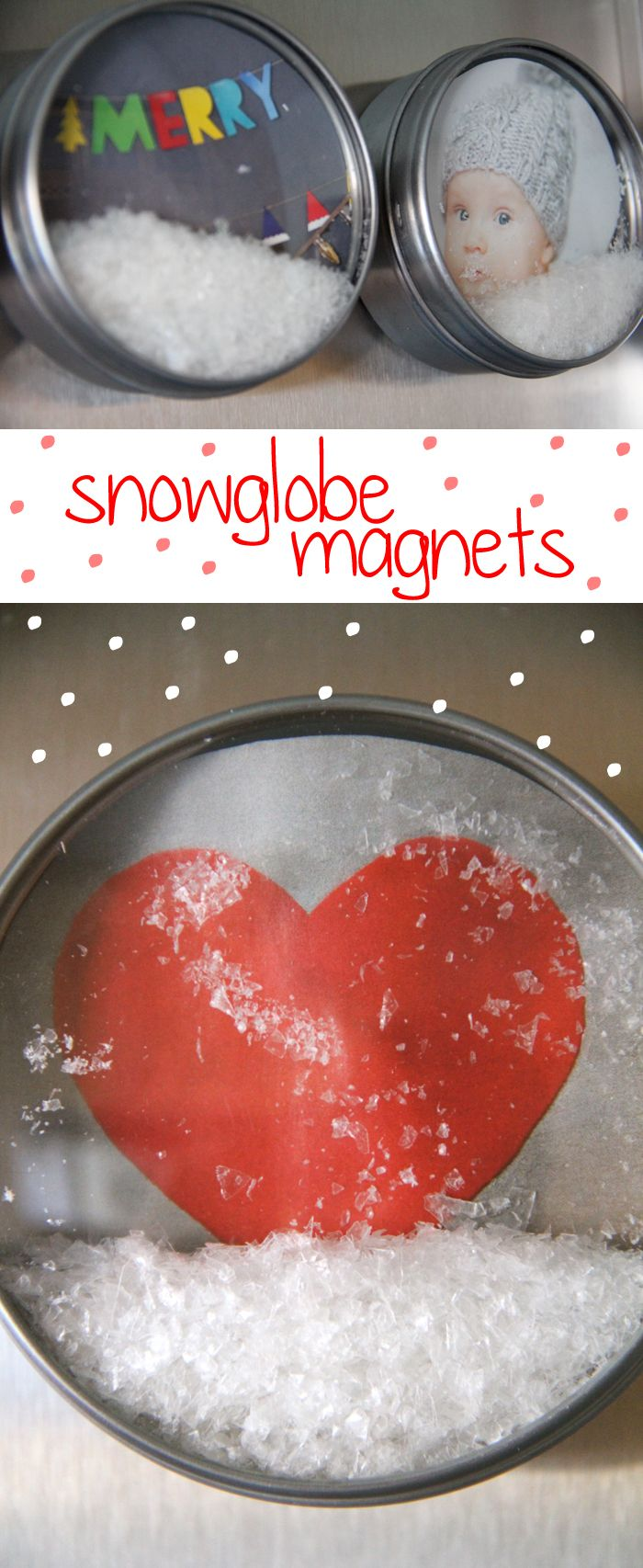 Snowglobe magnets made of magnetic spice tins from Ikea and pictures cut out of catalogs.