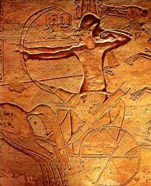 Image of Ramses II (1303-1213 BC) at the Battle of Qadesh in his temple at Abu Simbel. This battle, 1274 BC, was a major confrontation between the New Kingdom Egyptian and Hittite Empires and resulted in a largely indecisive result, although both sides subsequently claimed victory in their propagandistic art and inscriptions.