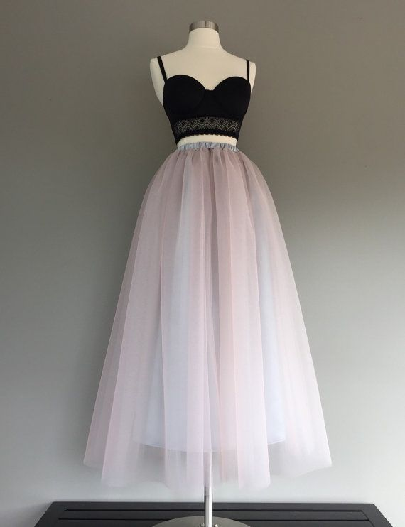 Floor length tulle skirt two toned tulle by Morningstardesignsmi
