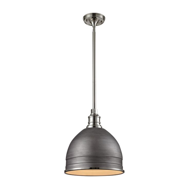 carolton polished nickel 13 inch one light pendant elk lighting dome pendant lighting ceil