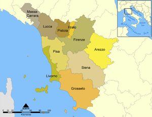 Karte Italiens, Toskana hervorgehoben