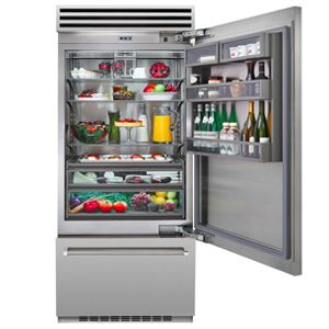 Featuring commercial style design and performance, get this refrigerator for any home chef. Enjoy high-tech refrigeration & unique features.