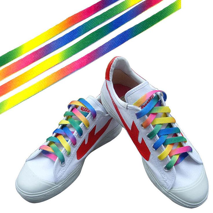 1 Pares Del Arco Iris Cordones de Los Zapatos Cordones de Los Zapatos Atléticos Del Deporte Zapatilla de deporte de Lona Plana Cuerdas