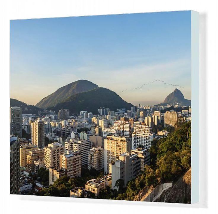 51x41cm Canvas Print. Botafogo and Humaita Neighbourhoods, elevated view, Rio de Janeiro, Brazil. . Image supplied by AWL Images