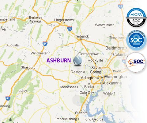 Map of the data center location in Ashburn VA. | Ashburn Virginia