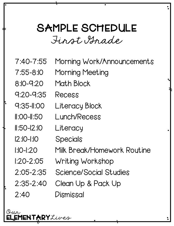 How To Fit It All In A First Grade Schedule First Grade