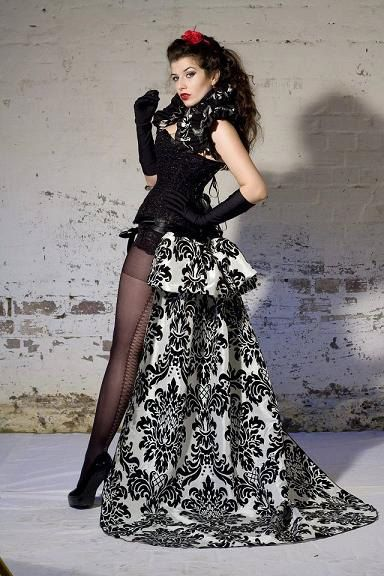 Madame La Shay  SALOON GIRL   Long Burlesque  Luxe Saloon Bustle STEAMPUNK By Gothic Burlesque. $90.00, via Etsy.
