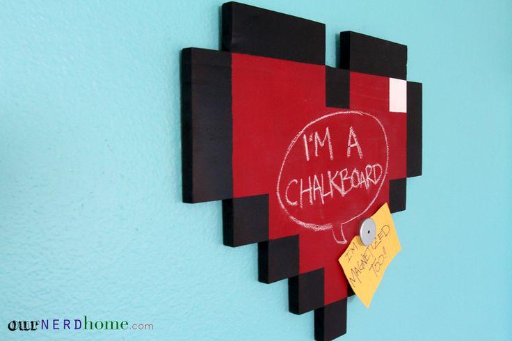 Geek Office: DIY 8-Bit Heart Magnetic Chalkboard - Our Nerd Home