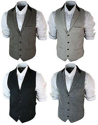 Mens-Vintage-Tweed-Waistcoat-Herringbone-Brown-Cream-Black-Grey-Slim-Fit